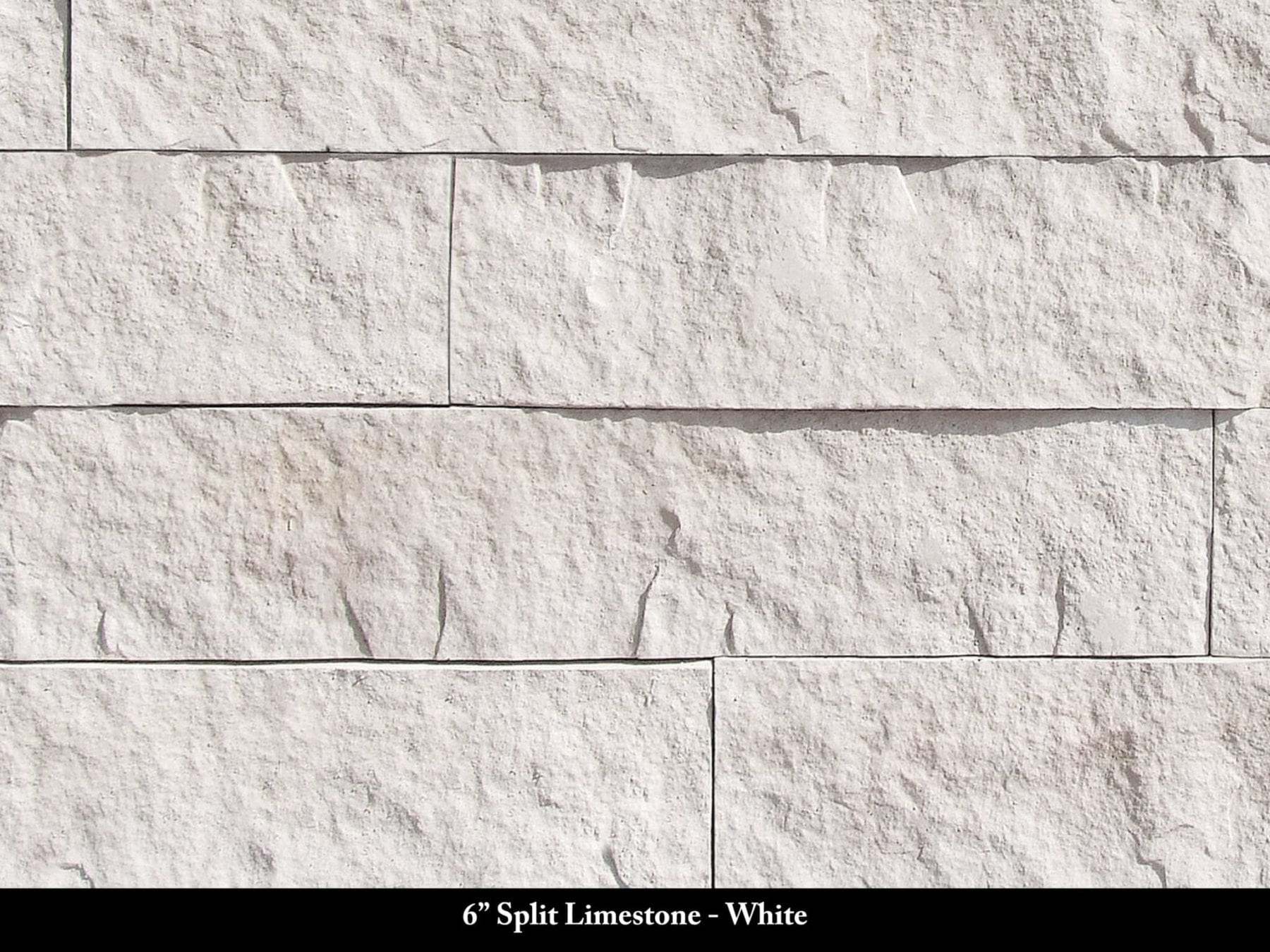 6in Split Limestone Manufactured Stone White